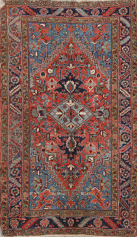 Antique Vegetable Dye Heriz Persian Area Rug 4x6