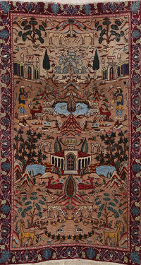 Pictorial Kashmar Persian Area Rug 4x6
