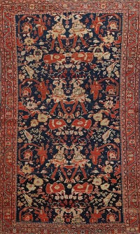 Pre-1900 Sultanabad Vegetable Dye Persian Area Rug 4x7