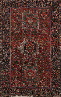 Antique Gharajeh Vegetable Dye Persian Area Rug 5x7