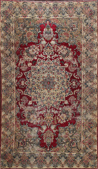 Antique Pre-1900 Kerman Vegetable Dye Persian Area Rug 4x7