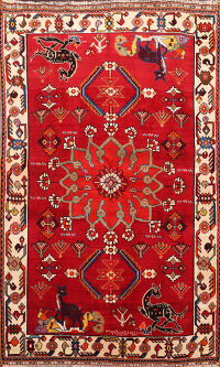 Animal Pictorial Kashkoli Persian Area Rug 4x6