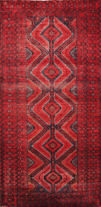Antique Geometric Zanjan Persian Area Rug 4x6