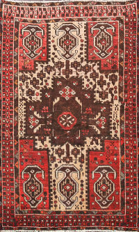 Antique Geometric Hamedan Persian Area Rug 4x6