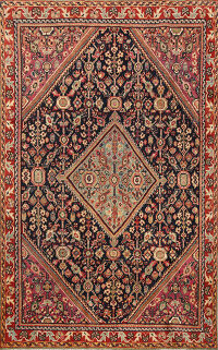 Antique 100% Vegetable Dye Mahal Persian Area Rug 4x6