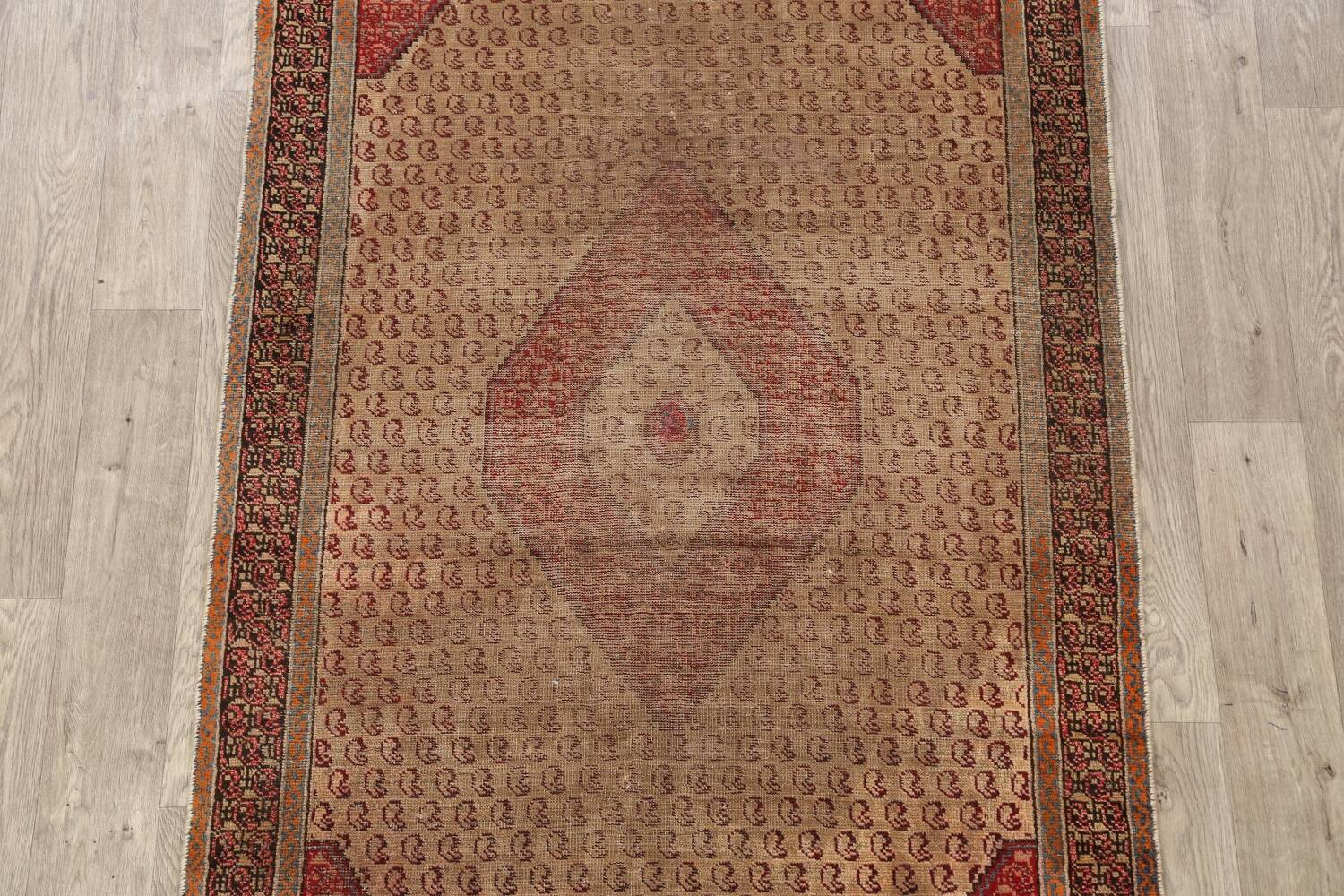 Antique Boteh Botemir Persian Area Rug 4x6 image 3