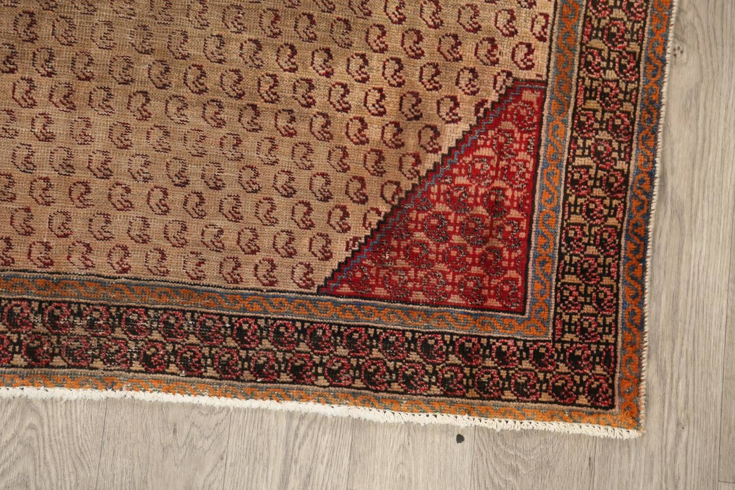Antique Boteh Botemir Persian Area Rug 4x6 image 5