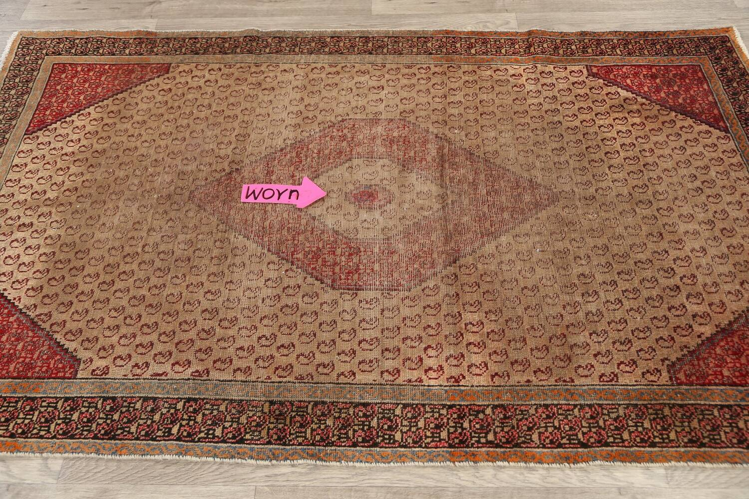 Antique Boteh Botemir Persian Area Rug 4x6 image 11