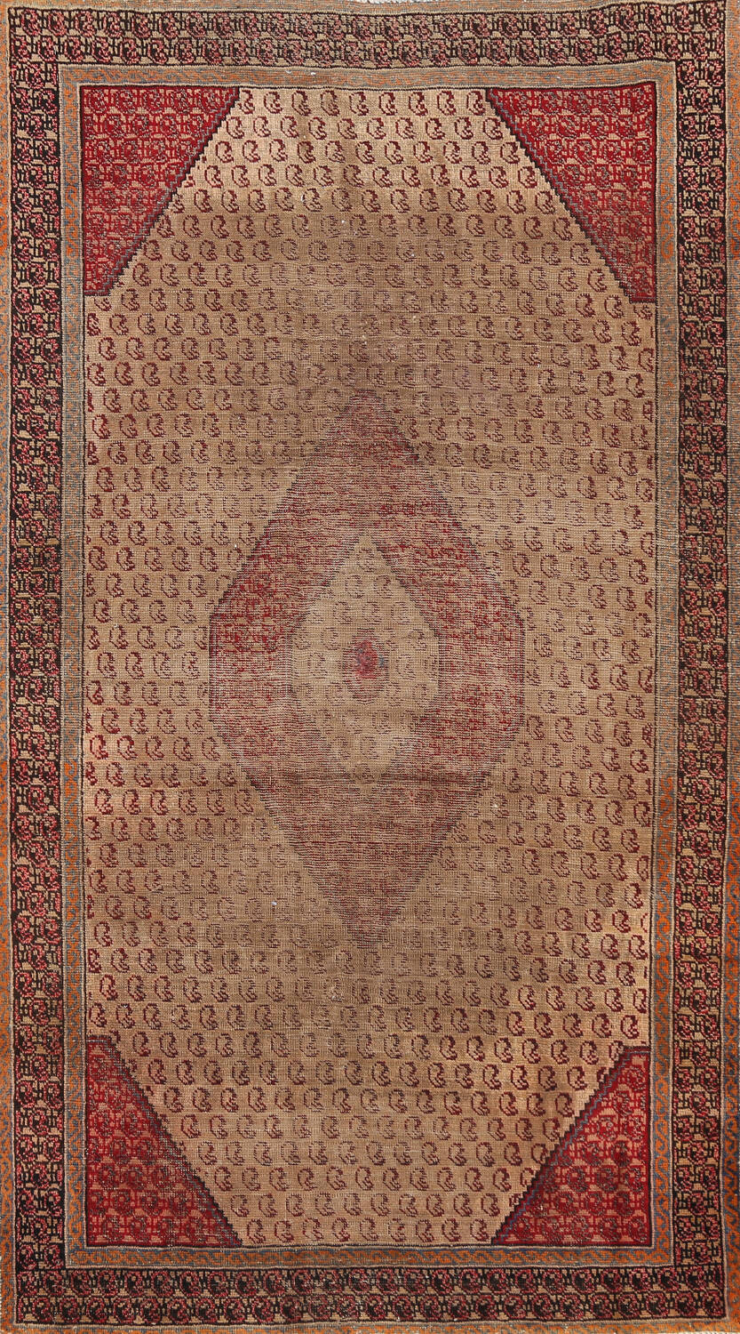Antique Boteh Botemir Persian Area Rug 4x6 image 1