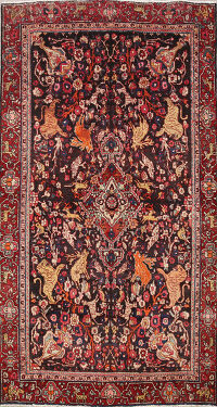 Animal Pictorial Bidjar Persian Area Rug 4x7