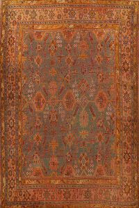 Pre-1900 Antique Oushak Vegetable Dye Turkish Area Rug 12x14