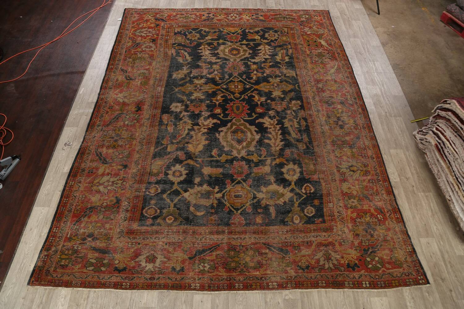 Antique Vegetable Dye Sultanabad Persian Area Rug 11x14 Large image 2