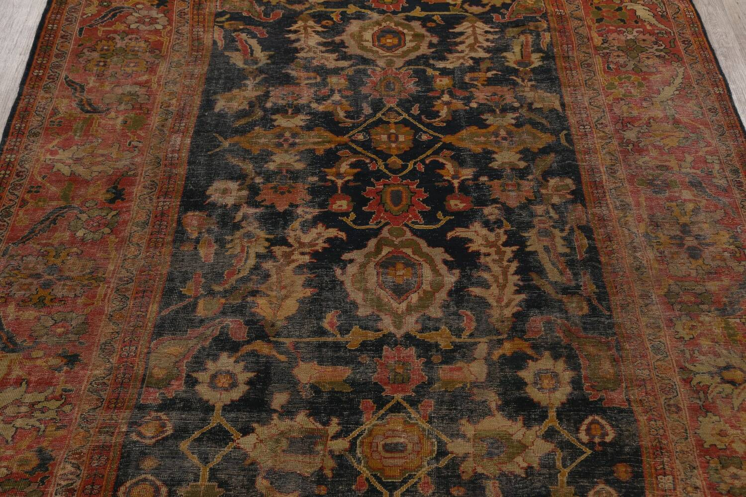 Antique Vegetable Dye Sultanabad Persian Area Rug 11x14 Large image 3