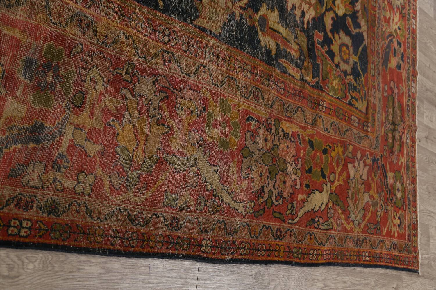 Antique Vegetable Dye Sultanabad Persian Area Rug 11x14 Large image 13