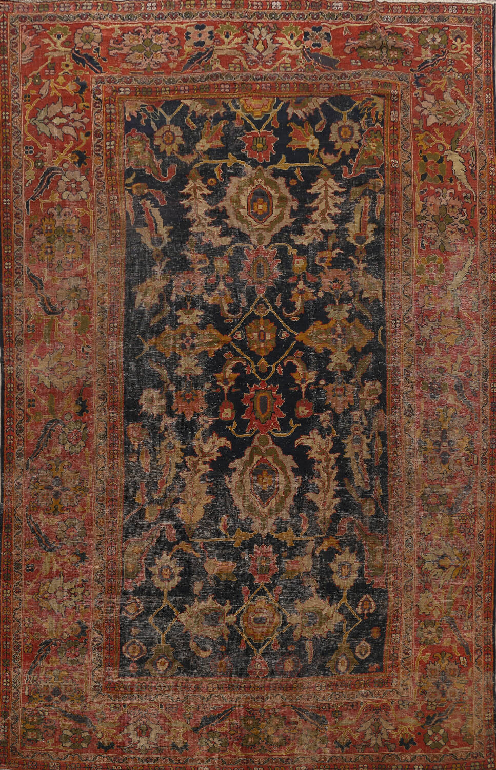Antique Vegetable Dye Sultanabad Persian Area Rug 11x14 Large image 1