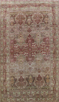 Pre-1900 Antique Kerman Vegetable Dye Persian Area Rug 11x17