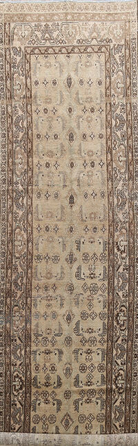 Pre-1900 Antique Bibikabad Persian Runner Rug 4x14