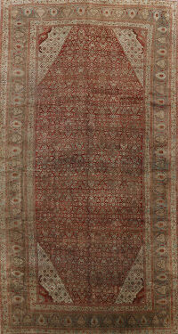 Pre-1900 Antique Bidjar Vegetable Dye Persian Area Rug 11x18