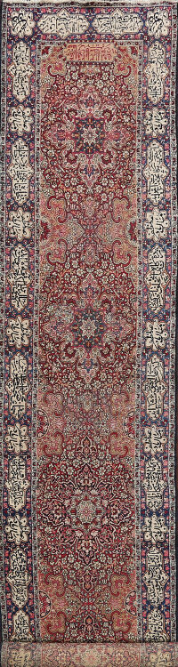 Antique Vegetable Dye Kerman Lavar Persian Runner Rug 3x19