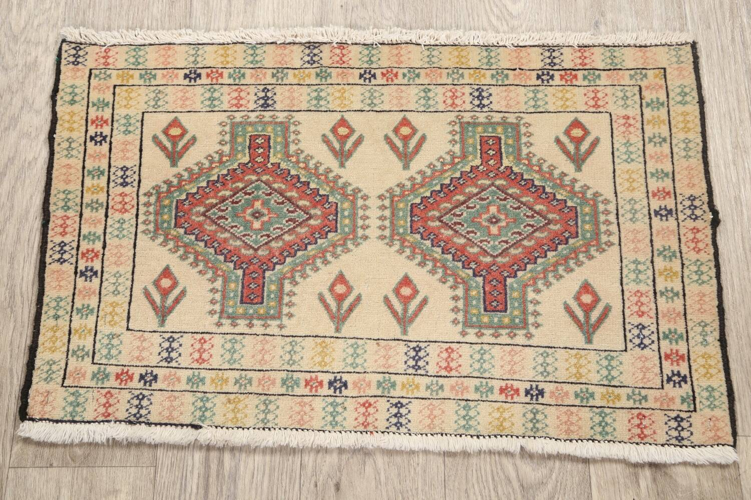 South-Western Style Bokhara Oriental Area Rug 1x2 image 10