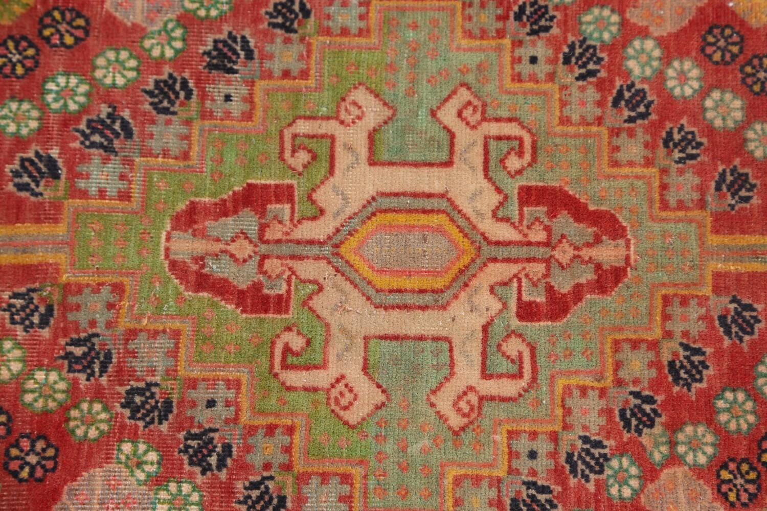 Antique 100% Vegetable Dye Abadeh Persian Rug 2x2 Square image 7