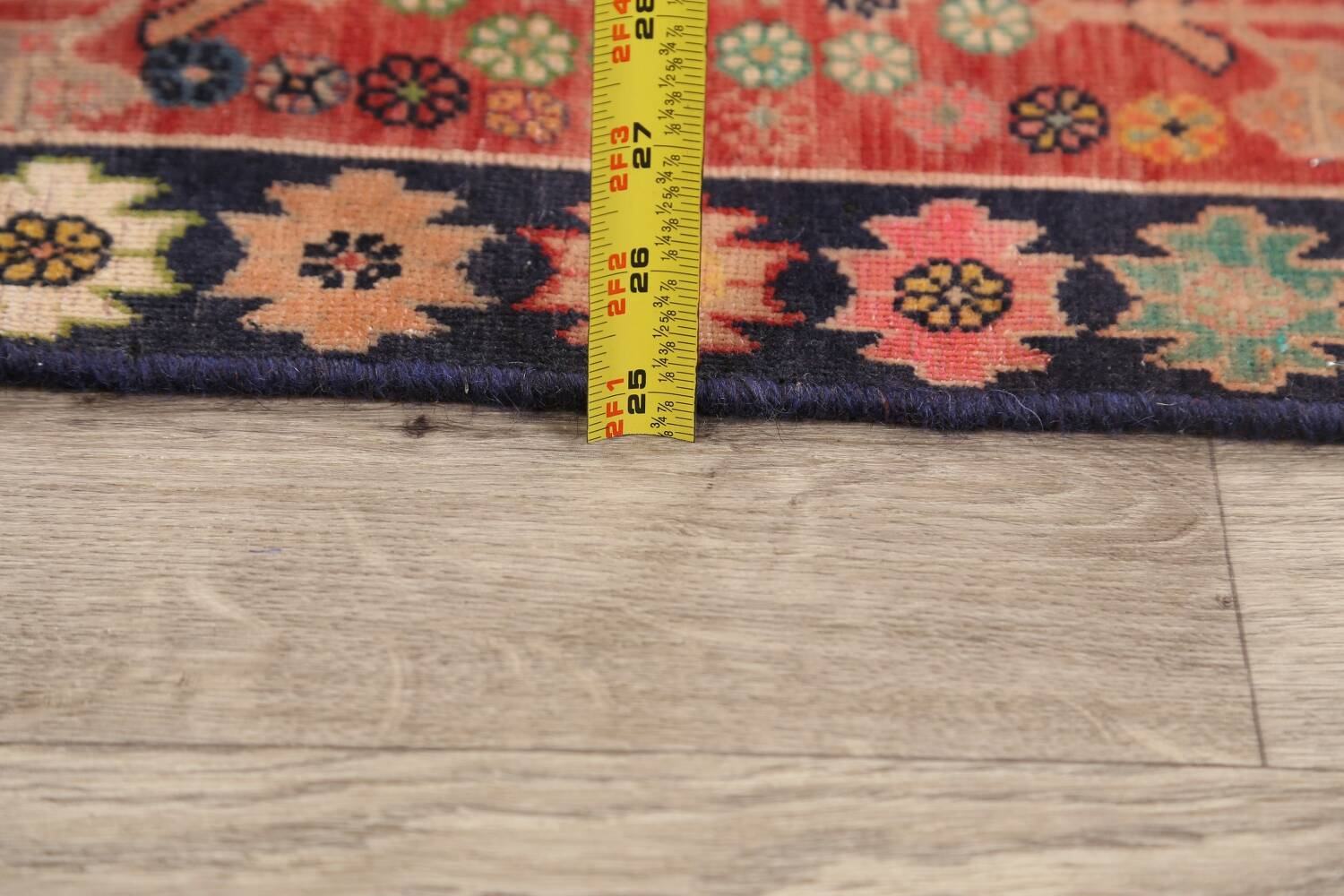 Antique 100% Vegetable Dye Abadeh Persian Rug 2x2 Square image 14