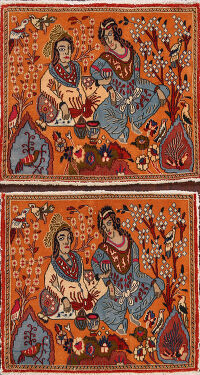 Pictorial Set of 2 Shiraz Persian Area Rugs 2x3