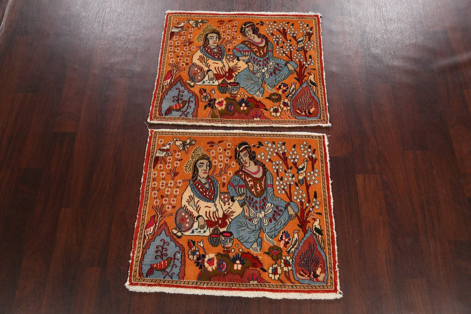 Pictorial Set of 2 Shiraz Persian Area Rugs 2x3 image 2