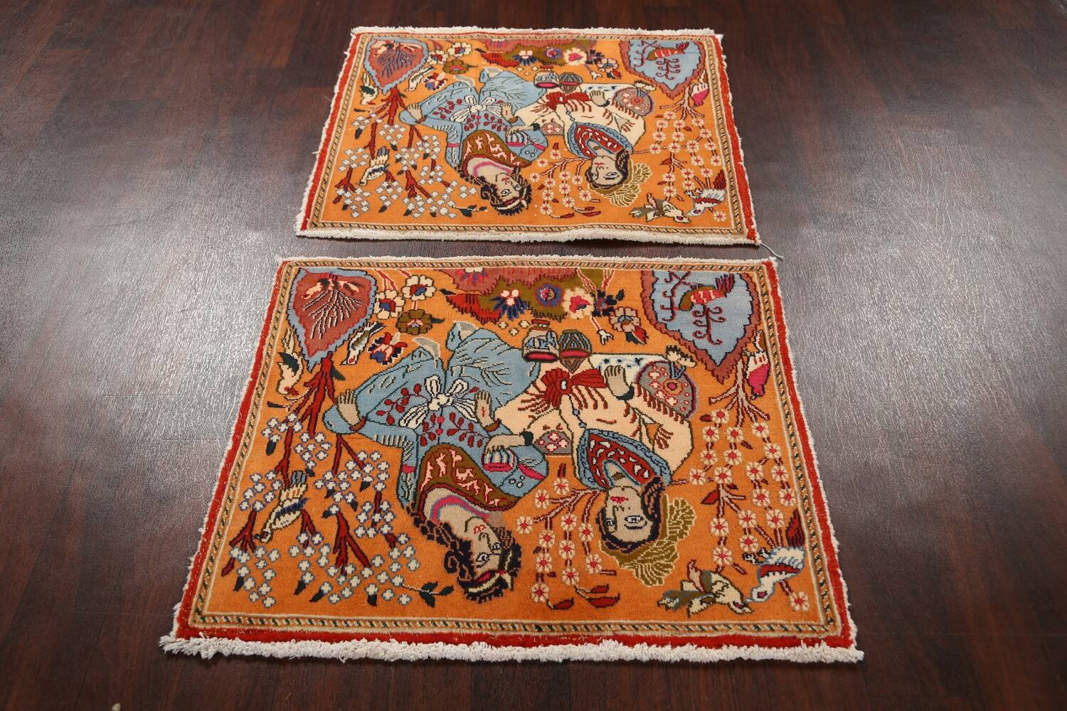 Pictorial Set of 2 Shiraz Persian Area Rugs 2x3 image 13