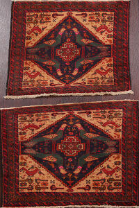Set of 2 Animal Pictorial Balouch Oriental Area Rugs 2x3