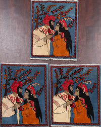 Set of 3 Pictorial Shiraz Persian Area Rugs 2x3