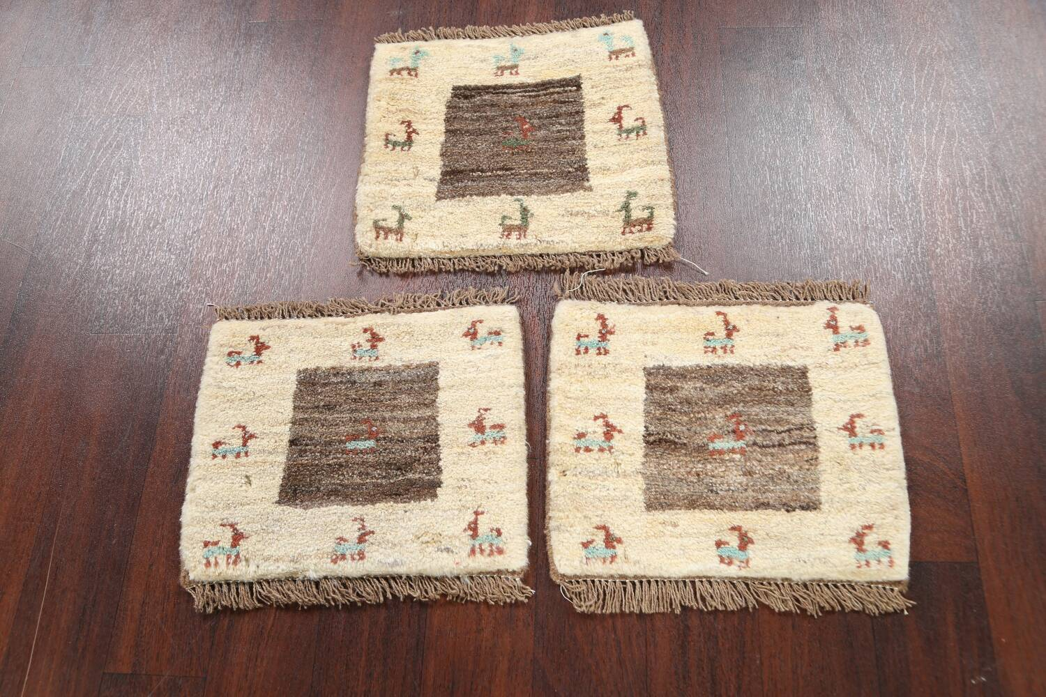 Set of 3 Tribal Gabbeh Persian Area Rugs 1x1 Square image 2