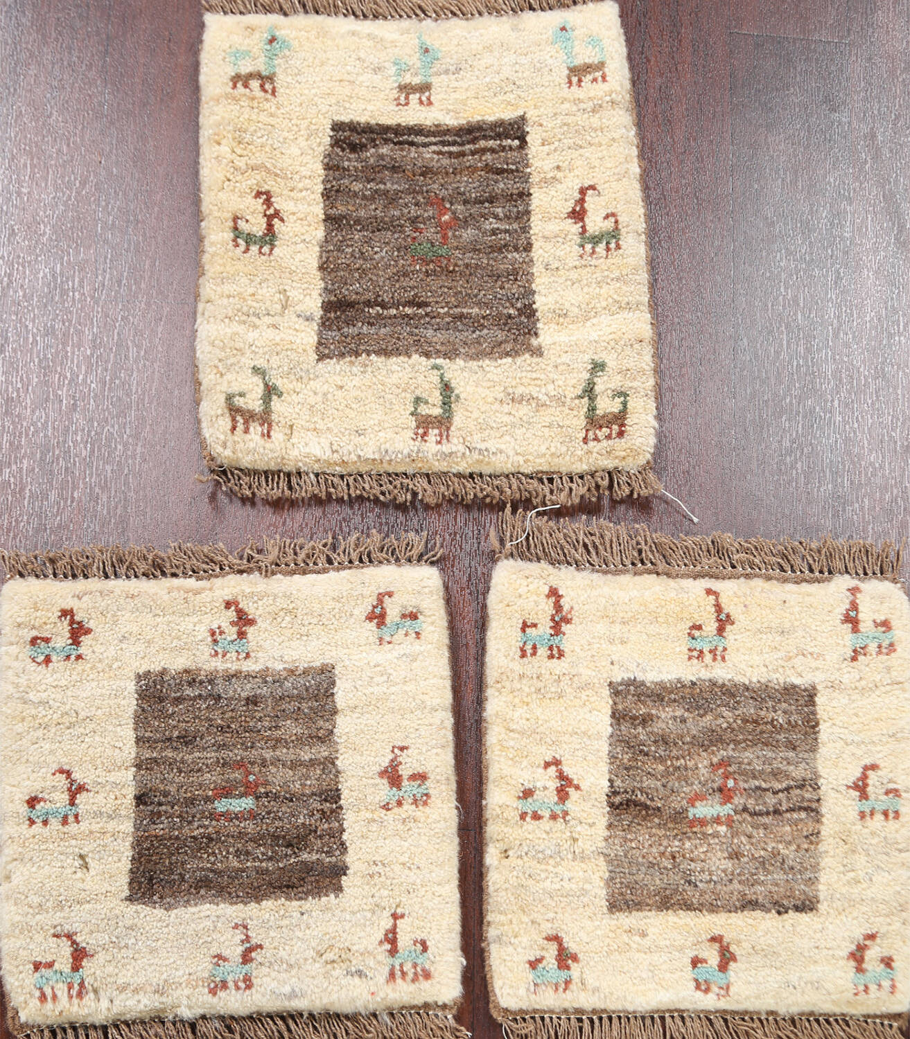 Set of 3 Tribal Gabbeh Persian Area Rugs 1x1 Square image 1