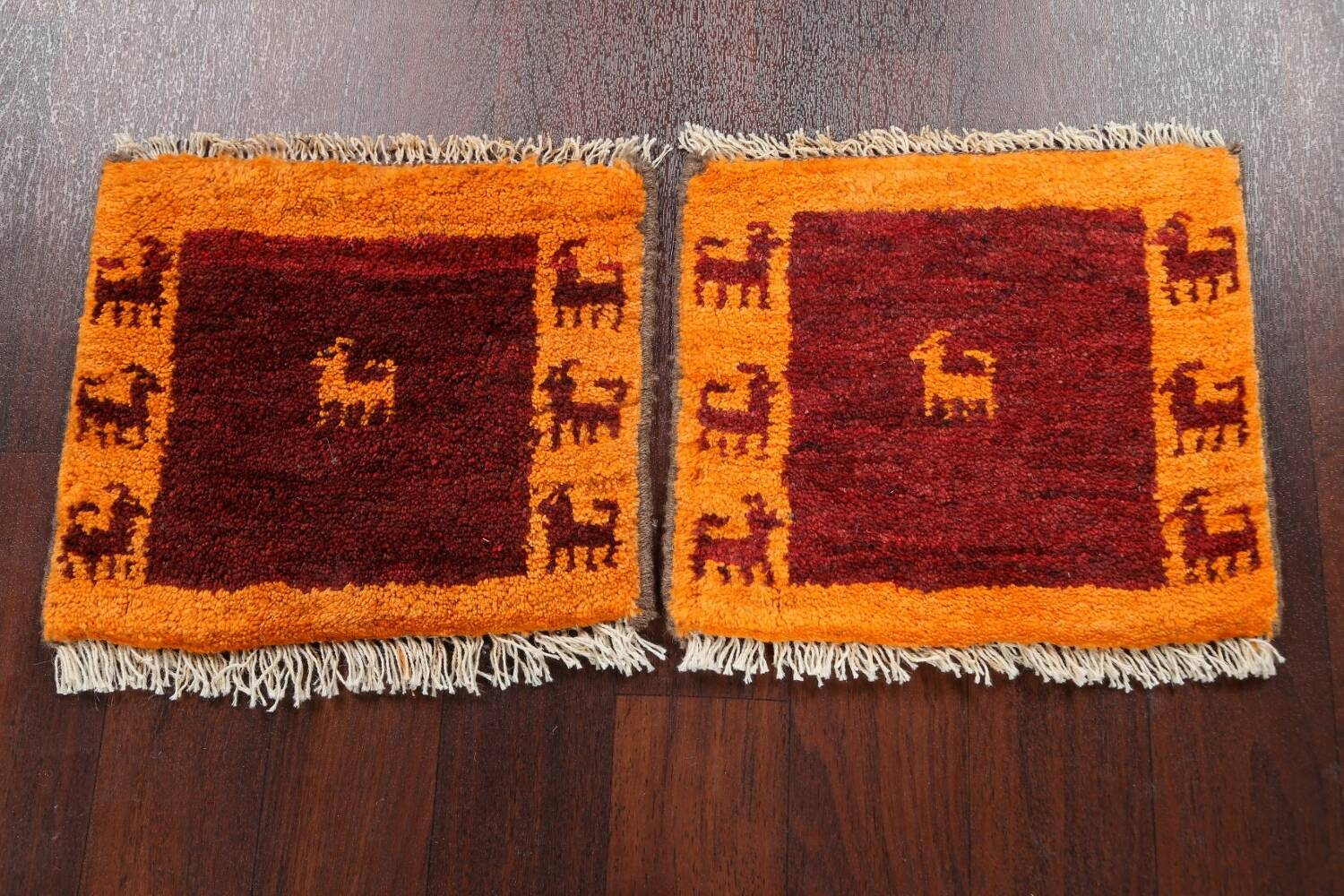 Set of 2 Tribal Gabbeh Persian Area Rugs 1x1 Square image 2