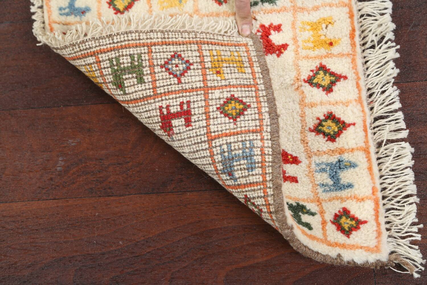Set of 2 Tribal Gabbeh Persian Area Rugs 1x1 Square image 6