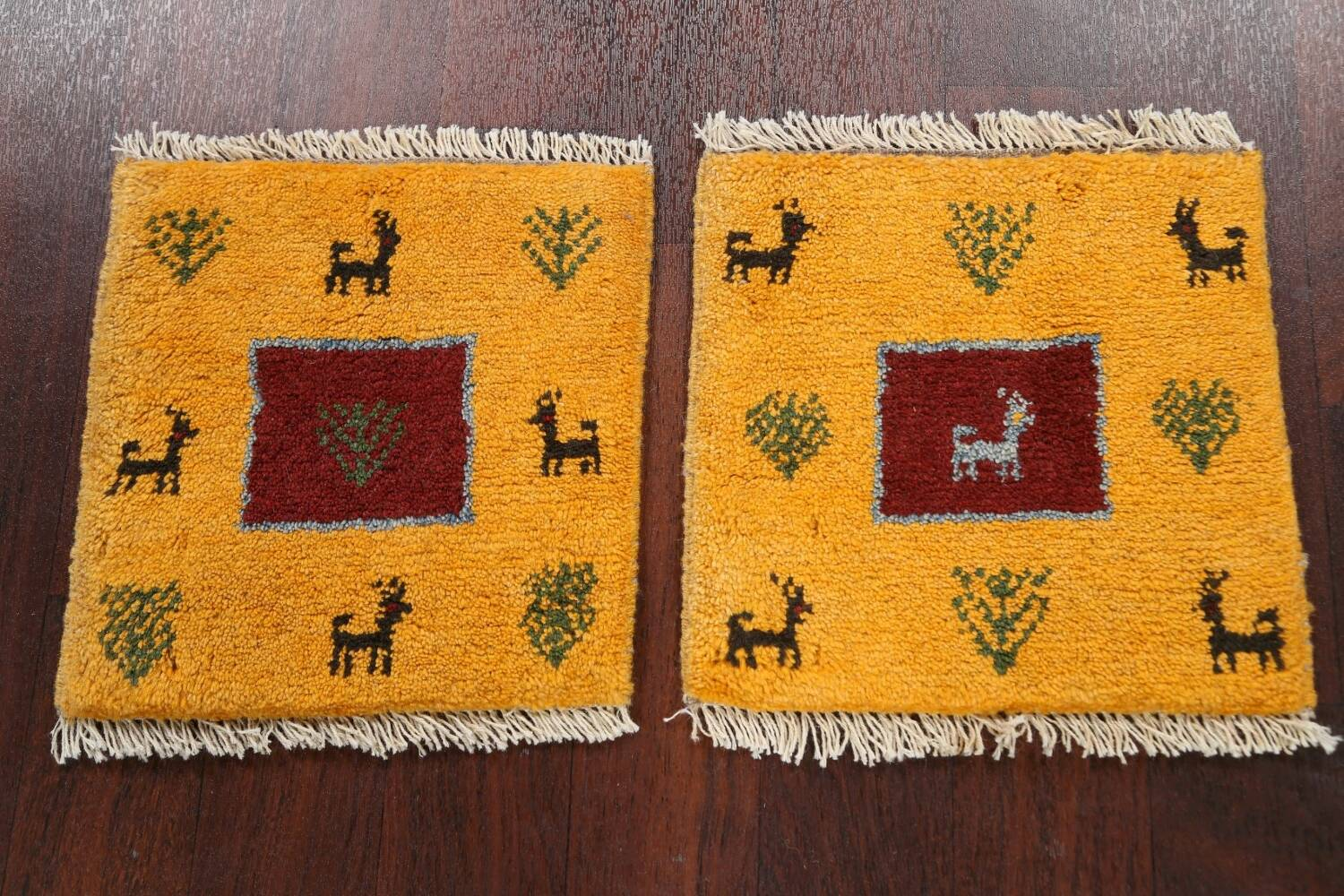 Set of 2Tribal Gabbeh Persian Area Rugs 1x1 Square image 2