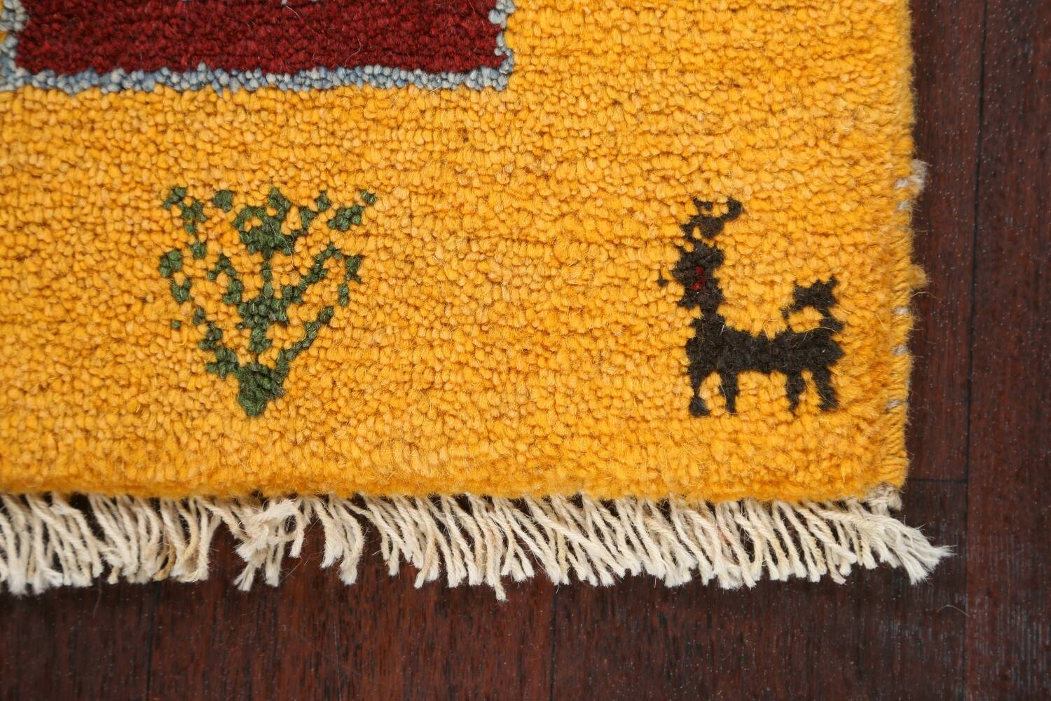 Set of 2Tribal Gabbeh Persian Area Rugs 1x1 Square image 4