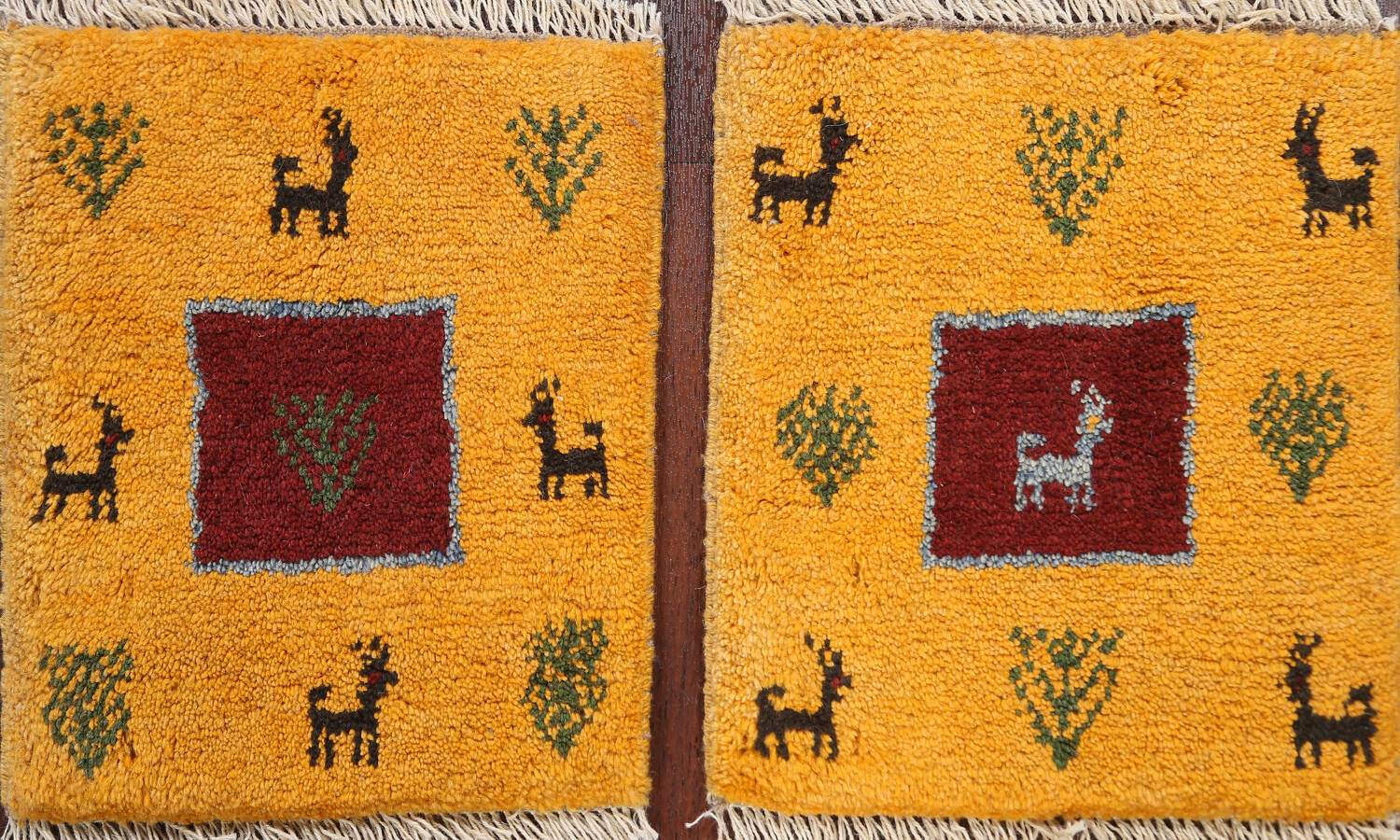 Set of 2Tribal Gabbeh Persian Area Rugs 1x1 Square image 1