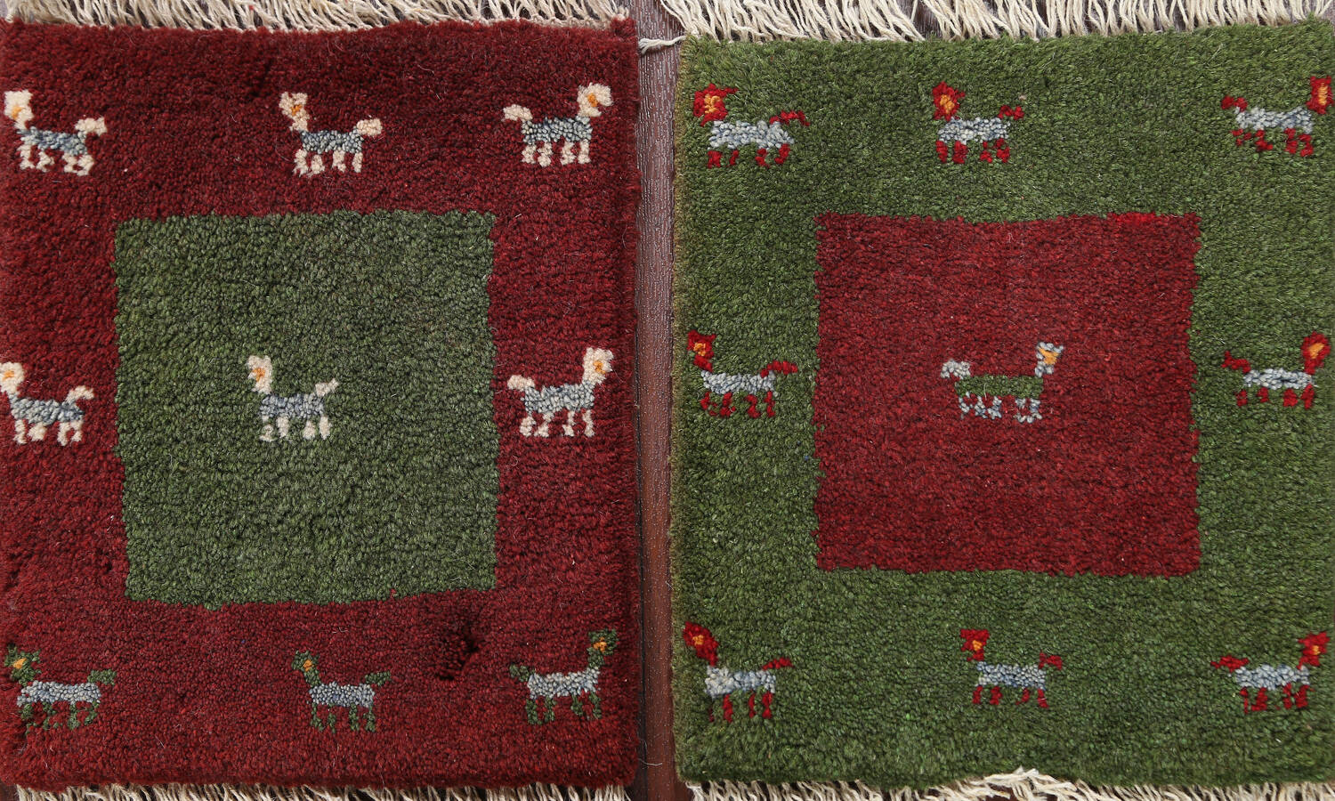 Set of 2 Tribal Gabbeh Persian Area Rugs 1x1 Square image 1