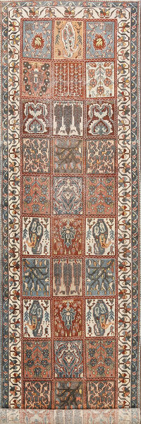 Antique Garden Design Bakhtiari Persian Runner Rug 4x13