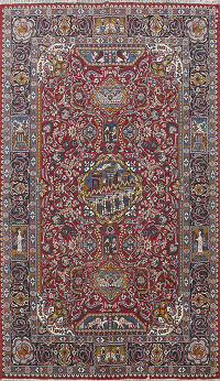 Pictorial Kashmar Turkish Oriental Area Rug 6x10
