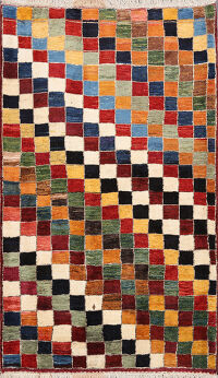 Checkered Gabbeh Persian Area Rug 4x5