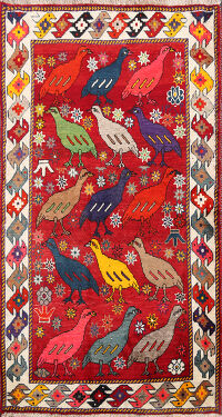 Animl Pictorial Gabbeh Persian Area Rug 4x6