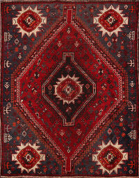 Antique Tribal Shiraz Persian Area Rug 4x5