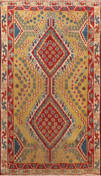 Antique Tribal Abadeh Vegetable Dye Persian Area Rug 3x4