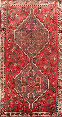 Antique Shiraz Vegetable Dye Persian Area Rug 4x6