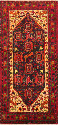 Animal Pictorial Balouch Afghan Oriental Area Rug 3x6