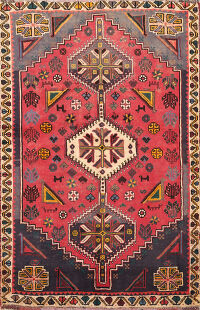 Tribal Shiraz Persian Area Rug 4x5