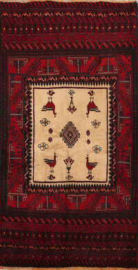 Animal Pictorial Balouch Afghan Oriental Area Rug 4x6