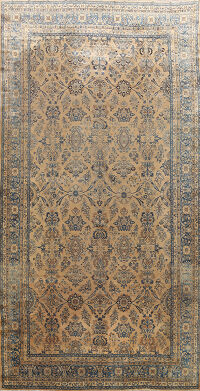 Pre-1900 Antique Kerman Vegetable Dye Persian Rug 11x18
